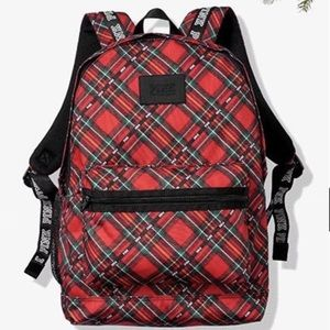 VS PINK campus backpack red checkered plaid print